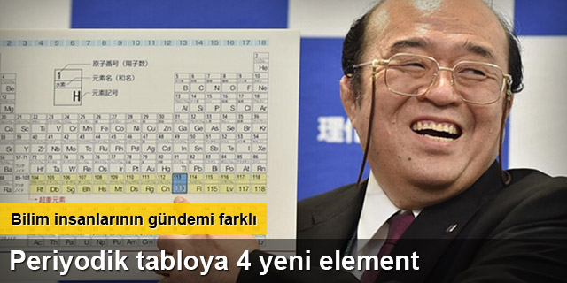 Periyodik tabloya 4 yeni element